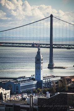Terrific shot of the San Francisco Ferry Building and Bay Bridge