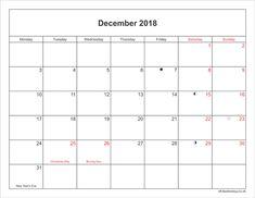 14 Best December 2018 Holidays Calendar Images
