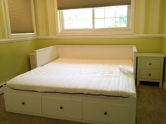 "HEMNES Daybed by JA Assembly, via Flickr THis is the coolest bed from ikea. it fits two twin mattress (so its a king) easily shareable for C and T so just one bed in their room plus you can put it ""away"" and its a couch...all that floor space not to mention three drawers of storage"
