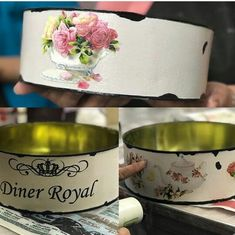 Tins, Dog Bowls, Decoupage, Diy And Crafts, Cool Stuff, Tableware, Painting, Ideas, Paper Engineering