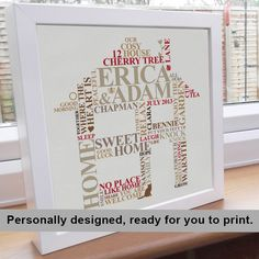 Printable File - New Home Housewarming gift. Personalised Word Art. Picture family engagement present unique typography. by AliChappellUK on Etsy https://www.etsy.com/listing/126517656/printable-file-new-home-housewarming