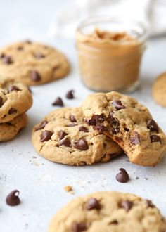 Thick and soft chocolate chip peanut butter cookies are a fun treat! Best Homemade Chocolate Chip Cookie Recipe, Perfect Chocolate Chip Cookies, Baking Recipes, Cookie Recipes, Dessert Recipes, Desserts, Peanut Butter Recipes, Peanut Butter Cookies, Mexican Food Recipes