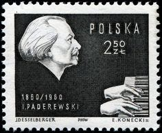 Ignacy Jan Paderewski, (1860-1941)  Polish pianist, politician, and the second Prime Minister of the Republic of Poland, Post stamp issued circa 1960