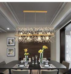Snowflake Crystal Living or Dining Room Chandelier - Modern Crystal Chandelier Lighting, Linear Chandelier, Chandelier Lamp, Ceiling Lamp, Pendant Lamp, Ceiling Lights, Chandeliers, Dining Room Lighting, Bar Lighting