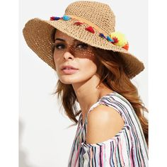 Coffee Tassel Pom-pom Trim Large Brimmed Straw Hat ($13) ❤ liked on Polyvore featuring accessories, hats, brim sun hat, brimmed hat, brim straw hat, straw sun hat and tassel hat