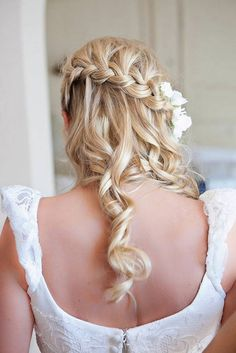 Up do side braid curly style for medium length