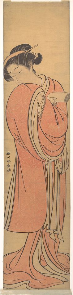 Katsukawa Shunshō (Japanese, 1726–1792). Woman in Red, late 18th century. Japan; Edo period (1615–1868). The Metropolitan Museum of Art, New York. H. O. Havemeyer Collection, Bequest of Mrs. H. O. Havemeyer, 1929 (JP1760)