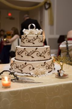 #cake with a beautiful chocolate scroll design    #wedding #cakedesign