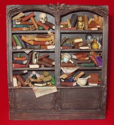 Book case filled for a wizard.  Or a witch.