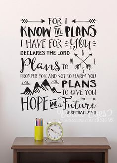 Jeremiah For I know the plans I have for you declares the Lord, Explorer Nursery, arrows, mountains,Vinyl wall decal Nursery Tribal by WildEyesSigns on Etsy Wall Decals For Bedroom, Vinyl Wall Decals, Wall Stickers, Wall Decal Quotes, Bible Quotes, Bible Verses, Scriptures, Faith Quotes, Mormon Quotes