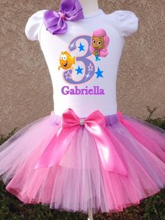 Bubble Guppies themed birthday outfits http://www.hollywoodprincessparty.com/