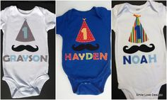 Mustache Personalized Birthday Shirt - Baby Boy or Toddler Happy Birthday Bodysuit or shirt - Great outfit for photos and First Birthday