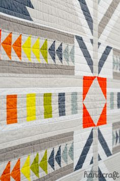 "Beautiful detail of ""Timber"" quilt, pattern designed by Alison Glass. (Photo from Quilt Market 2014 by Modern Handcraft: http://modernhandcraft.com/2014/05/quilt-market-2014-recap/)"