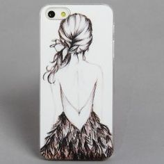 $2.42 Cool Relievo Series Girl Design PC Hard Back Case Cover with Transparent Frame for iPhone 5 (White)