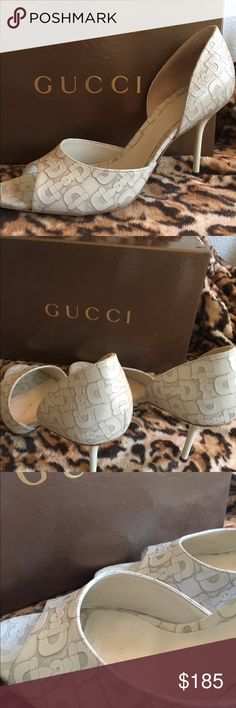 Gucci Peep Toe Heels Gorgeous Gucci Heels in mystic white horse bit design, calf.  Worn only once! Comes with box. Gucci Shoes Heels