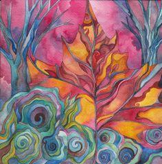 Two Blue Trees Original Watercolor by Megan Noel by meinoel, $85.00