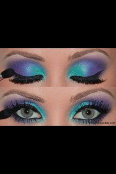 purplr and blue eye shadow