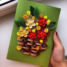 What about something little and bright? What about flowers, which will be fresh everytime? Make smile of ur girlfriend, mother or grandma! Just present her this card:) I used high quality paper, and quilling technique. the size is 10x15 cm all colors, forms and size can be discussed and