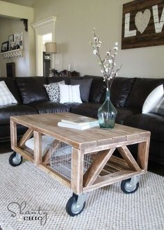 Wood Storage Trunk Coffee Table Wheels Storage and Coffee