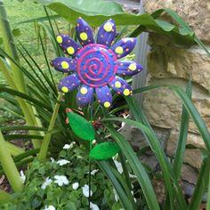 Metal Garden Art Flowers Garden StakesLawn by PondScumCeramics