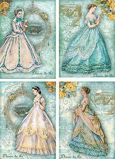 Jane Austen tea time vintage inspired ATC altered art card set of 8