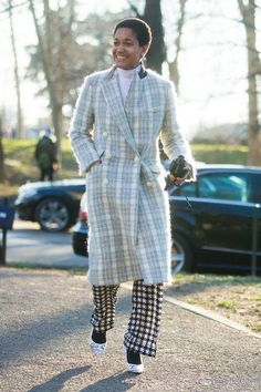 Tamu Mcpherson outfit inspiration - click to see how she wears a plaid statement coat and more