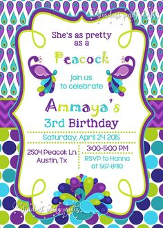 Peacock Birthday Invitation Peacock by StardustPartyPrints on Etsy