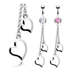 """Stainless Steel CZ Navel Belly Button Ring with Two Heart Chain Dangle - 14 GA 3/8"""" Long, Women's"""