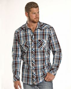 d2afa3ce Rock & Roll Cowboy® Men's Long Sleeve Poplin Plaid Shirt - Fort Brands