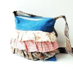 Denim Purse Handmade Purse Recycled Denim Handbags Recycled Denim Purse Ruffle Purses Handmade Purses and Bags