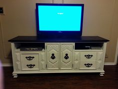 TV stand made from vintage dresser. Check out Treasures and Designs of Grace on Facebook.