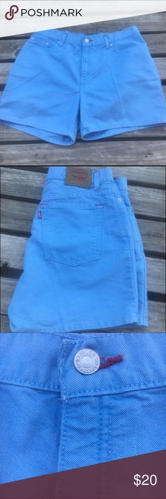 Levi shorts light blue color estimate 8-10 size 11 inch rise 4.5 inseam and 17 inch waist. No tag inside. These are in great shape and super cute color. I weigh 145 pounds and they are a little loose on me and are high rise. Levi's Shorts Jean Shorts