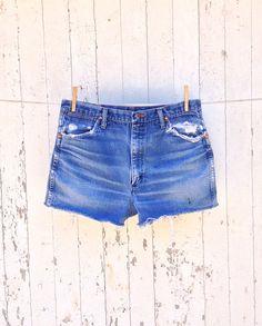 80s High Waist Wrangler Cut Off Denim Shorts 32 Waist Distressed Faded Festival Boho Leather Patch on Etsy, $32.00