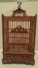 New Vintage Rare Brown Hand Carved Wood Bird Cage House Chateau 40/08 Idonesia