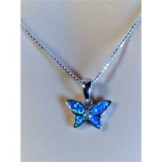 """Sterling Silver Blue butterfly  Lab Opal Pendant Necklaces and Earrings Set,18"""""""