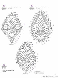 from Asahi original lacework pineapple pattern Crochet Motif Patterns, Crochet Borders, Crochet Diagram, Crochet Chart, Thread Crochet, Crochet Designs, Crochet Doilies, Crochet Flowers, Crochet Lace