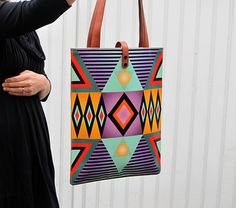 Leather Tote / Laptop bag Tribal Geometric No.2 by tovicorrie