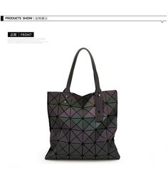 Aliexpress.com   Buy Baobao Women Bag bolso Fashion Shoulder Bag 6 6  Geometry Sequins Mirror Laser Plain Folding Bags Luminous Handbag PU Casual Tote  from ... 5c8e83d717bf7