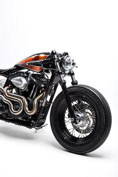 This custom Harley Sportster 48 from Australia's Kustom Kommune is a Kandy-Kolored Tangerine-Flake Streamline Baby.