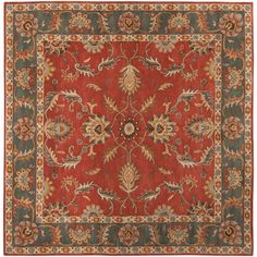 Hand-tufted Kiso Rust Traditional Border Wool Rug (6' Square), Red, Size 6'