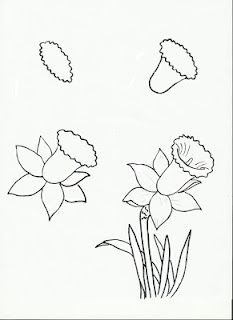 This is for third grade art...perhaps I should learn how to do it?  My daffodils end up looking like dinosaurs.