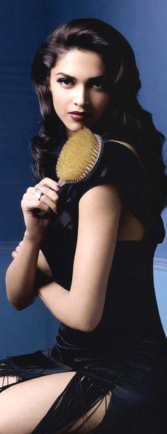 Deepika Padukone Dark hair beauty... just the LOOK my husband loves.. dark hair, waves, glam..LADY LUXE