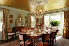 Turquoise walls, golden ceiling, coral velvet chairs  This is absolutely gorgeous! Must remember this one. So I am pinning it for safekeeping!
