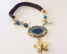 Gold Plated and Macrame Handmade Necklace with Blue Stone