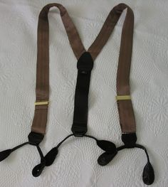 0f2f05d750b MEN BROWN SILK BUTTON LEATHER FITTING SUSPENDERS made in ENGLAND  fashion   clothing  shoes