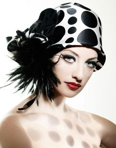 Black and white feathery hat!