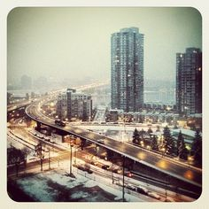 #Vancouver #Snow What A Wonderful World, Wonders Of The World, San Francisco Skyline, Vancouver, Skyscraper, Multi Story Building, Organic, Snow, Spaces