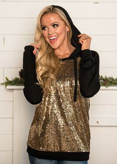 Front Gold Sequins Hoodie Black