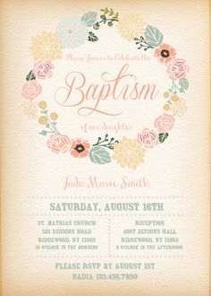 Printable-Digital-Invitation-Baptism-Baptism Invitation-Christening-Girl-Flower Wreath-Vintage feel-Pink-Custom-Personalize by KEDDESIGNS on Etsy https://www.etsy.com/listing/243382657/printable-digital-invitation-baptism