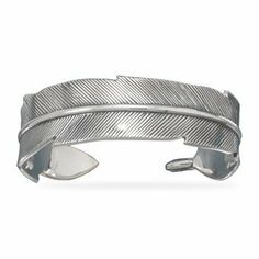 Sterling Silver Oxidized Feather Cuff Bracelet Forza Jewelry. $212.99